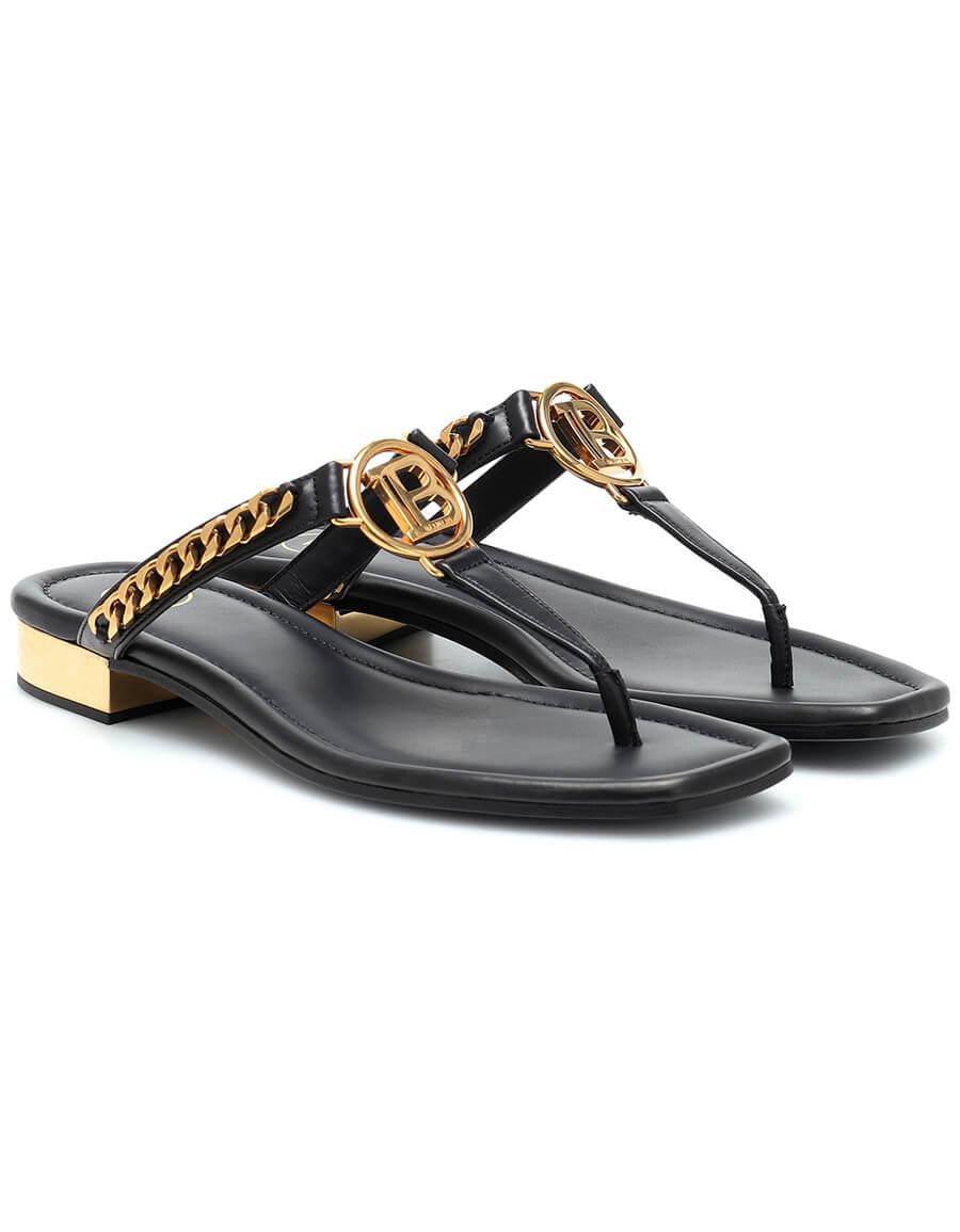 BALMAIN Embellished leather thong sandals