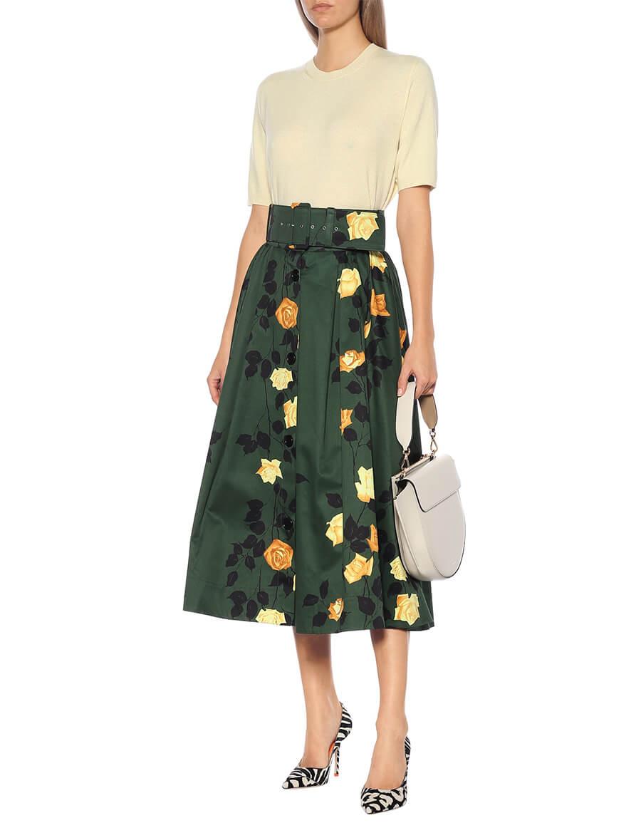MSGM Floral cotton midi skirt