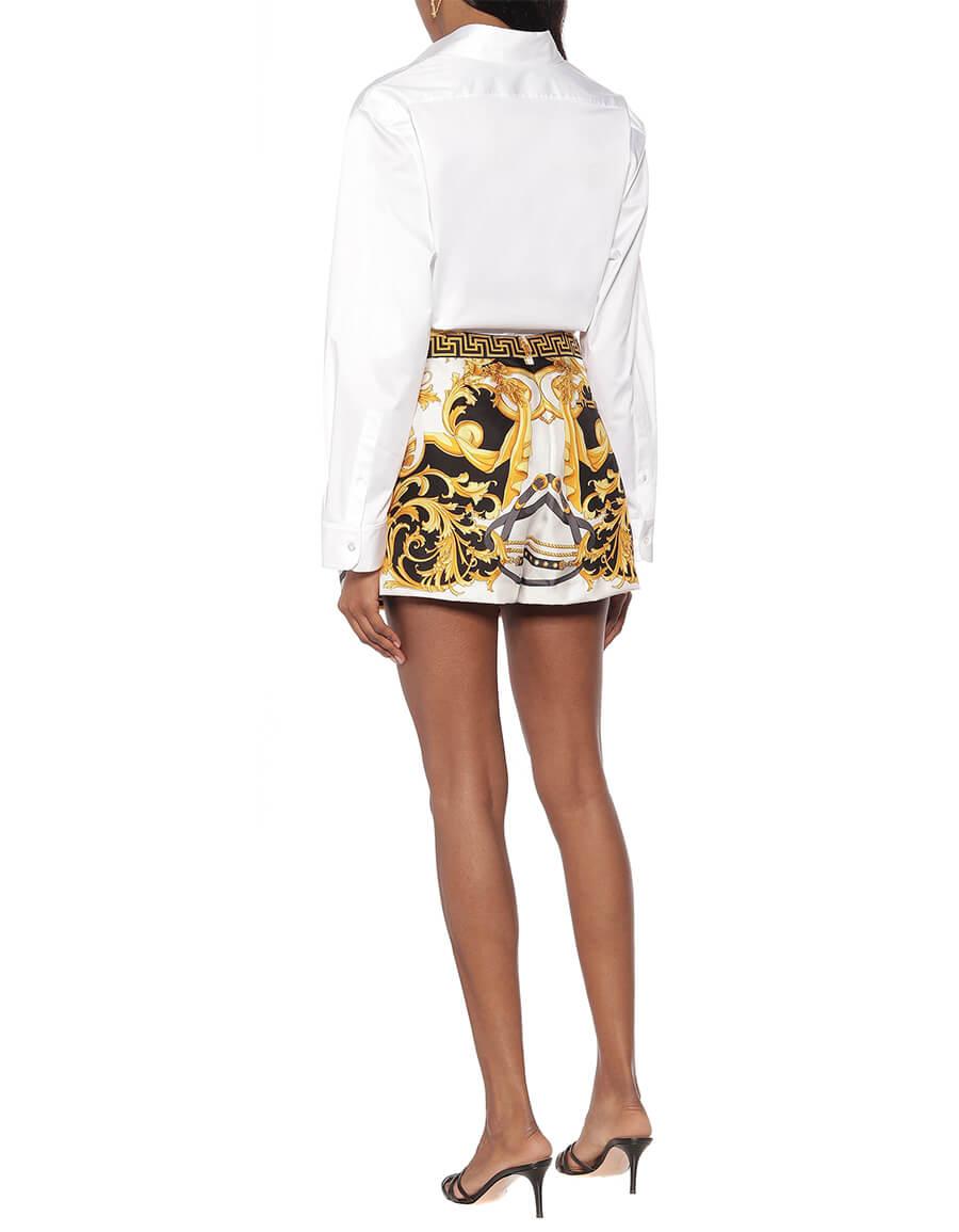 VERSACE Printed silk high rise shorts