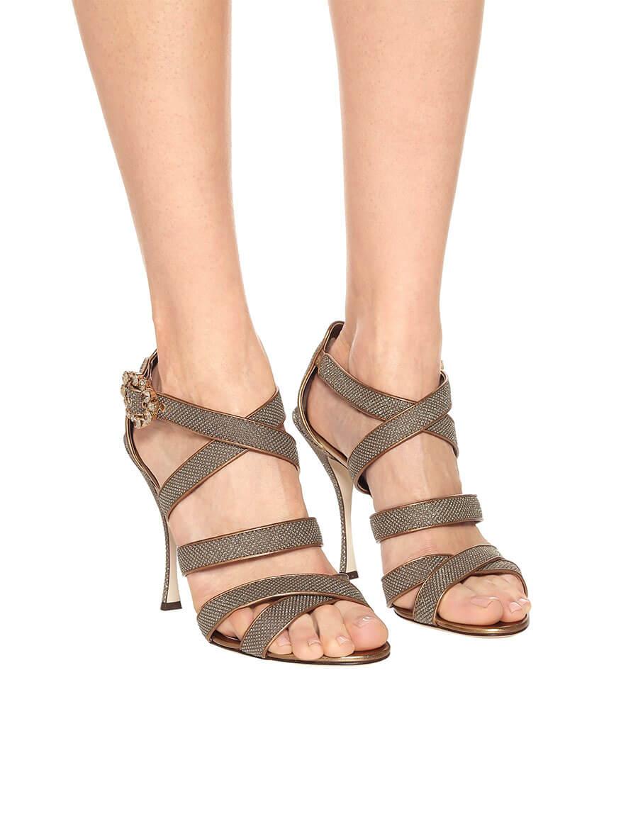 DOLCE & GABBANA Keira leather trimmed sandals