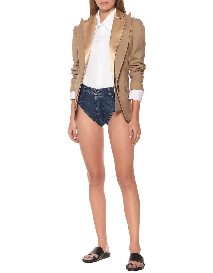 Y/PROJECT Cotton denim high rise shorts