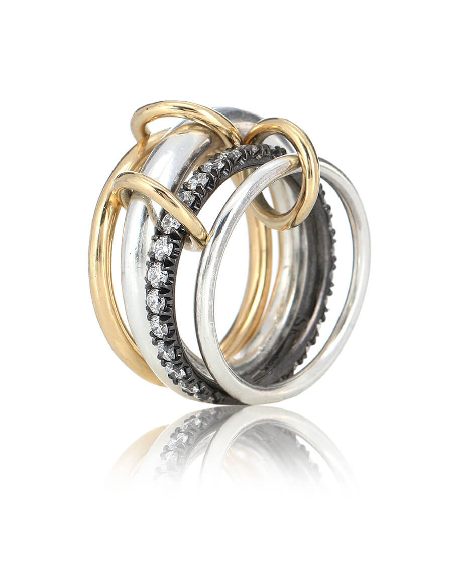 SPINELLI KILCOLLIN Janssen 18kt yellow gold and sterling silver linked rings with diamonds
