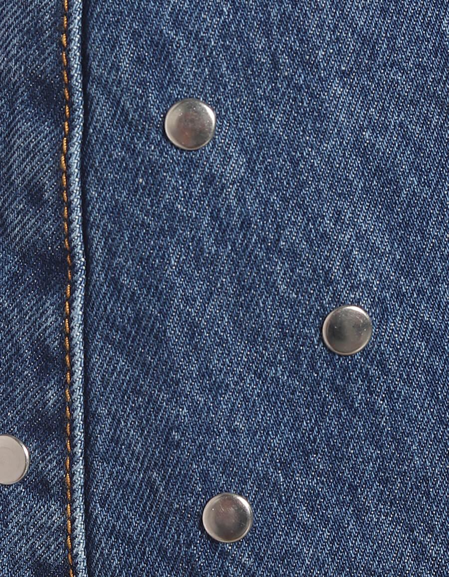 GANNI Embellished denim miniskirt