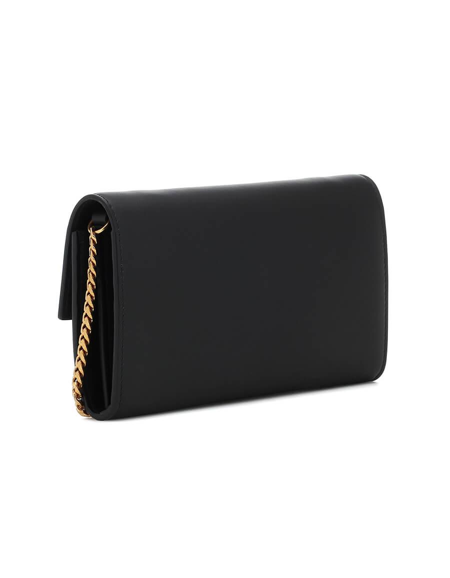 BALMAIN Logo leather clutch