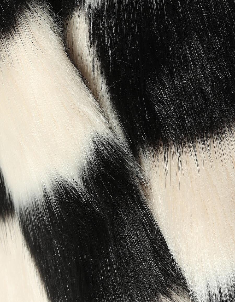 STAND STUDIO Nino checked faux fur coat
