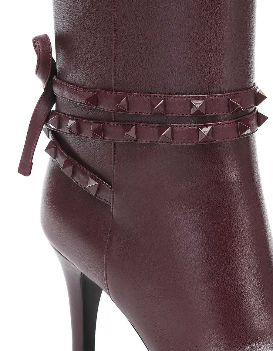 VALENTINO GARAVANI Valentino Garavani Rockstud Flair leather knee high boots