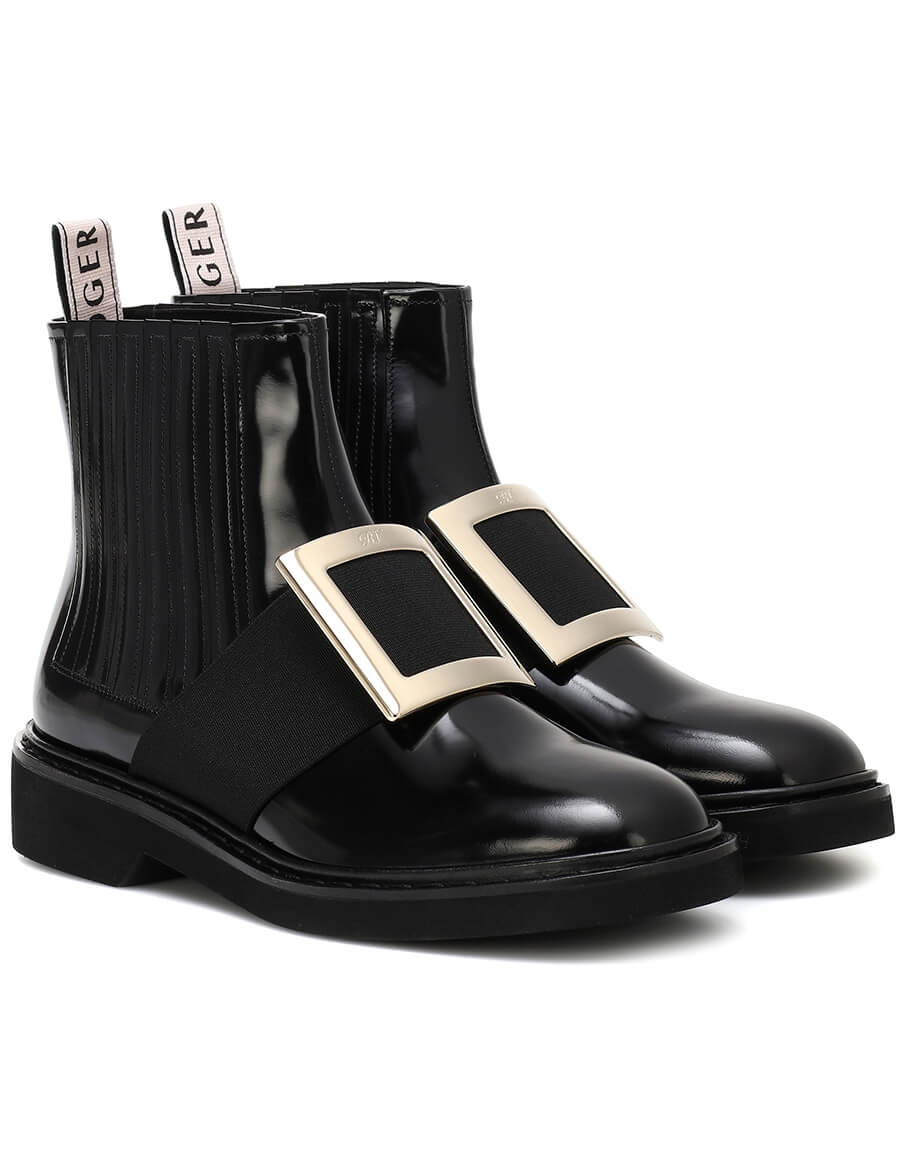 ROGER VIVIER Chelsea Viv' leather ankle boots