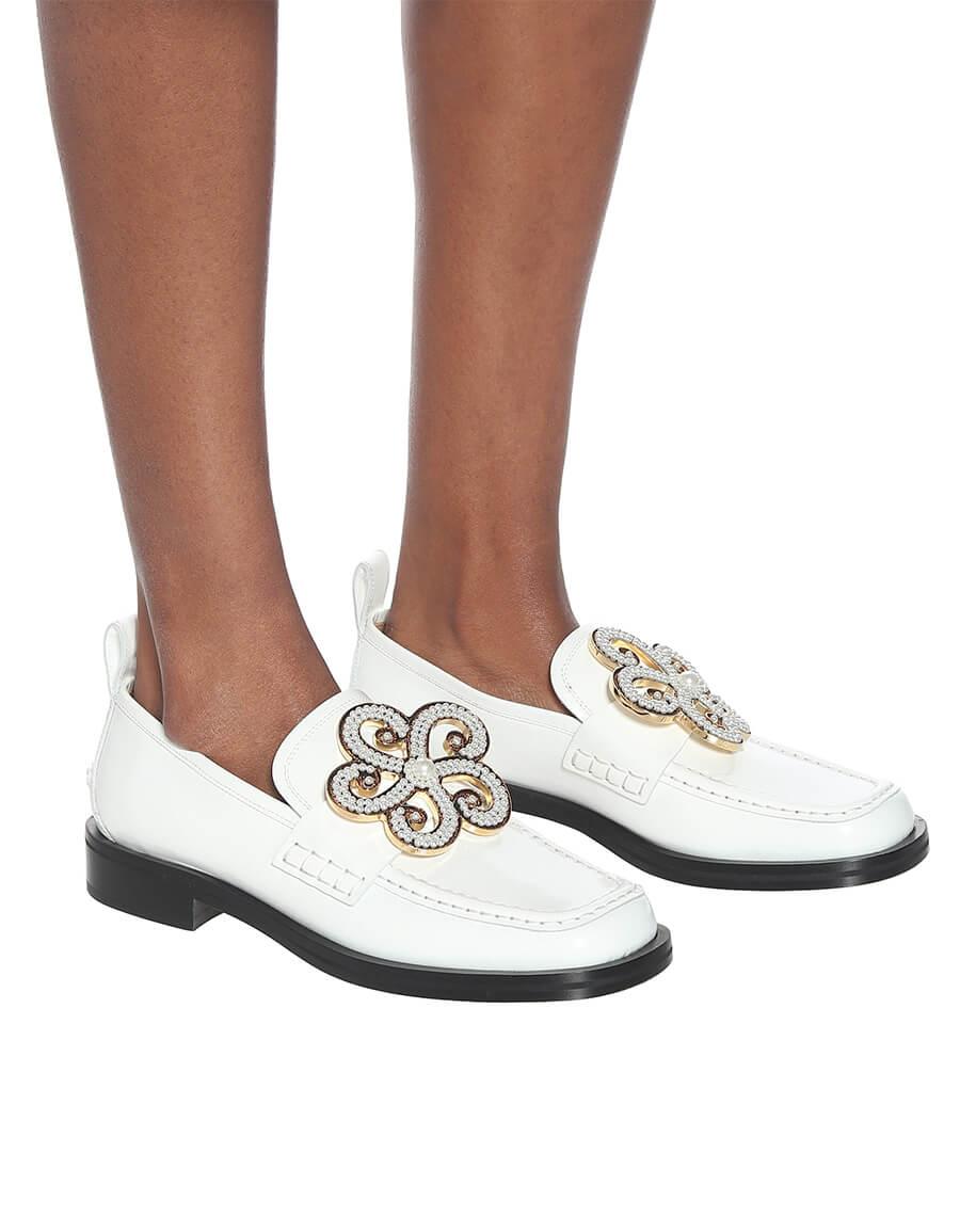 LOEWE Embellished leather loafers