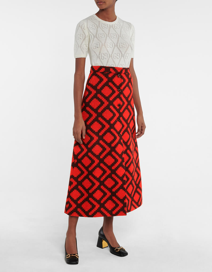 GUCCI High rise wool midi skirt