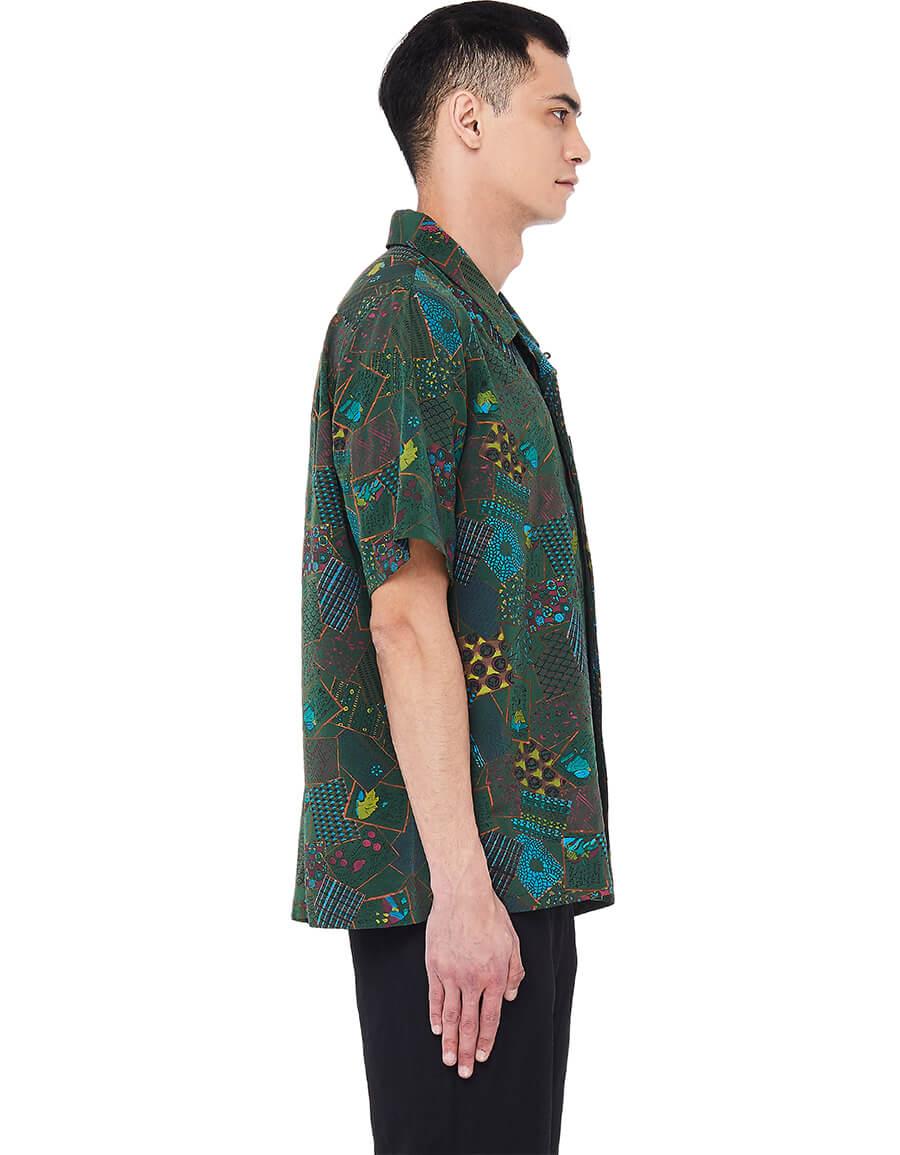 VISVIM Hand printed Free Edge Hyakunin Isshu Shirt