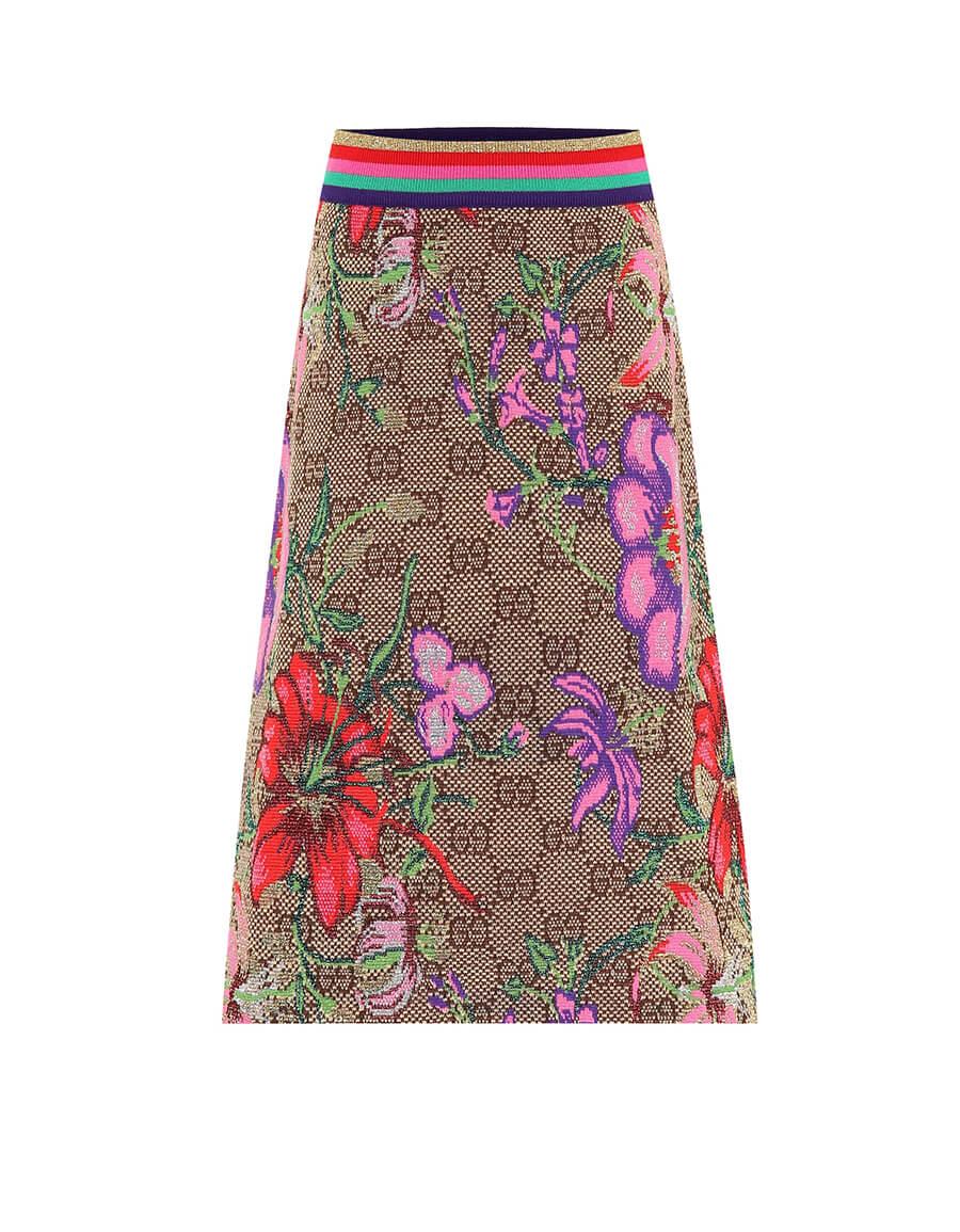 GUCCI GG Flora wool blend midi skirt