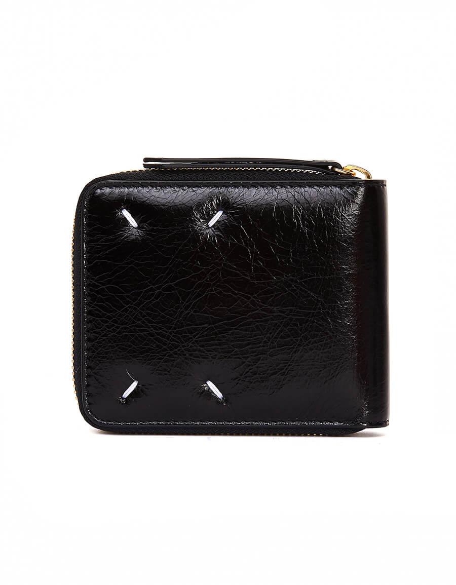MAISON MARGIELA Black Textured Leather Wallet