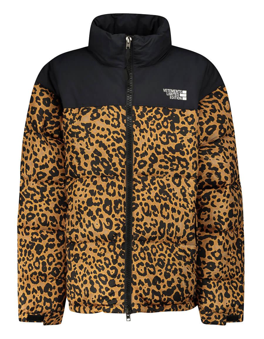 VETEMENTS Leopard print down jacket