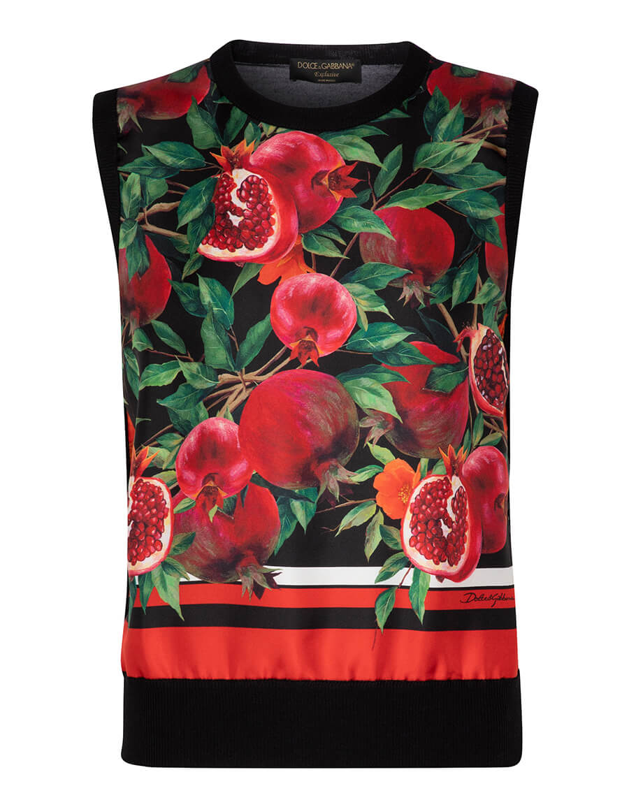 DOLCE & GABBANA Exclusive to Mytheresa – Pomegranate print cashmere and silk vest