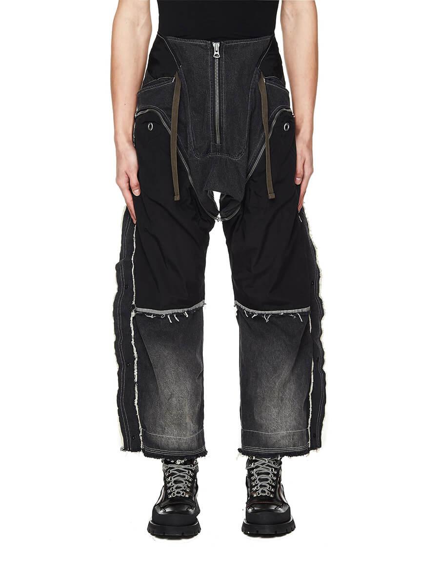 HAMCUS Contrasting Patchwork Grey Cargo Jeans