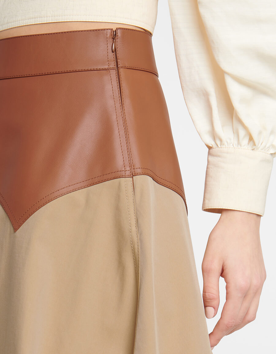 LOEWE High rise cotton and leather skirt