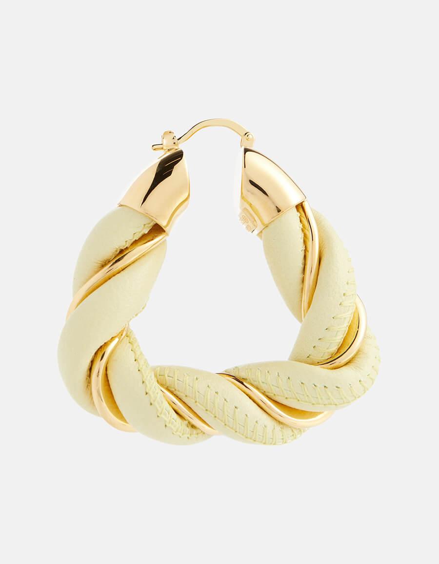 BOTTEGA VENETA Leather and gold vermeil triangle hoop earrings