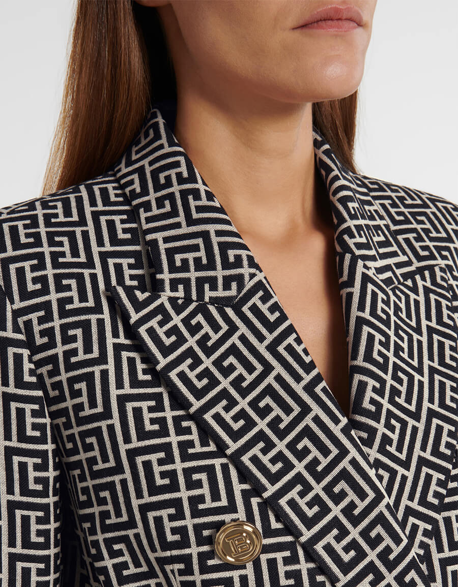 BALMAIN Logo jacquard wool blazer