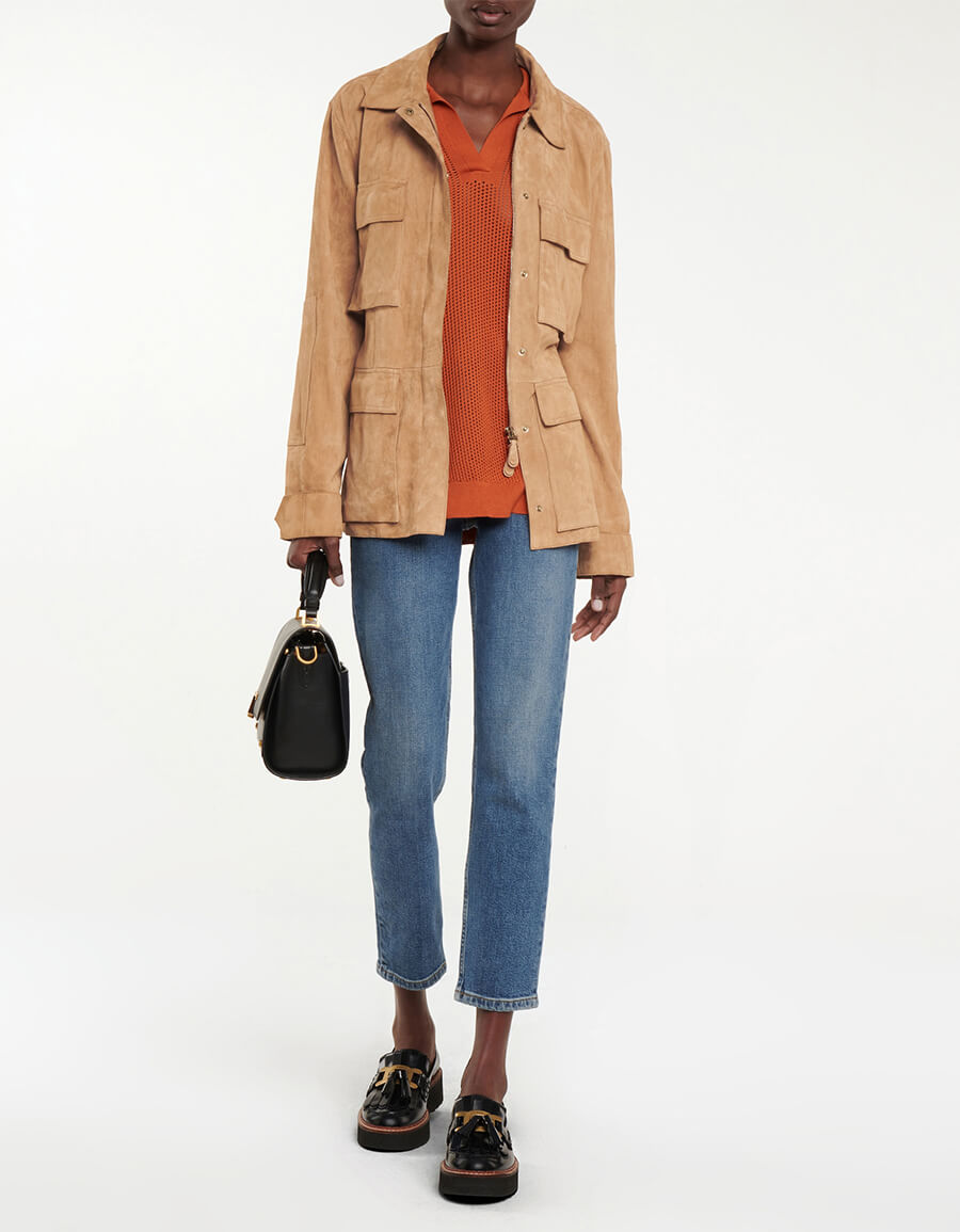 TOD'S Belted suede jacket