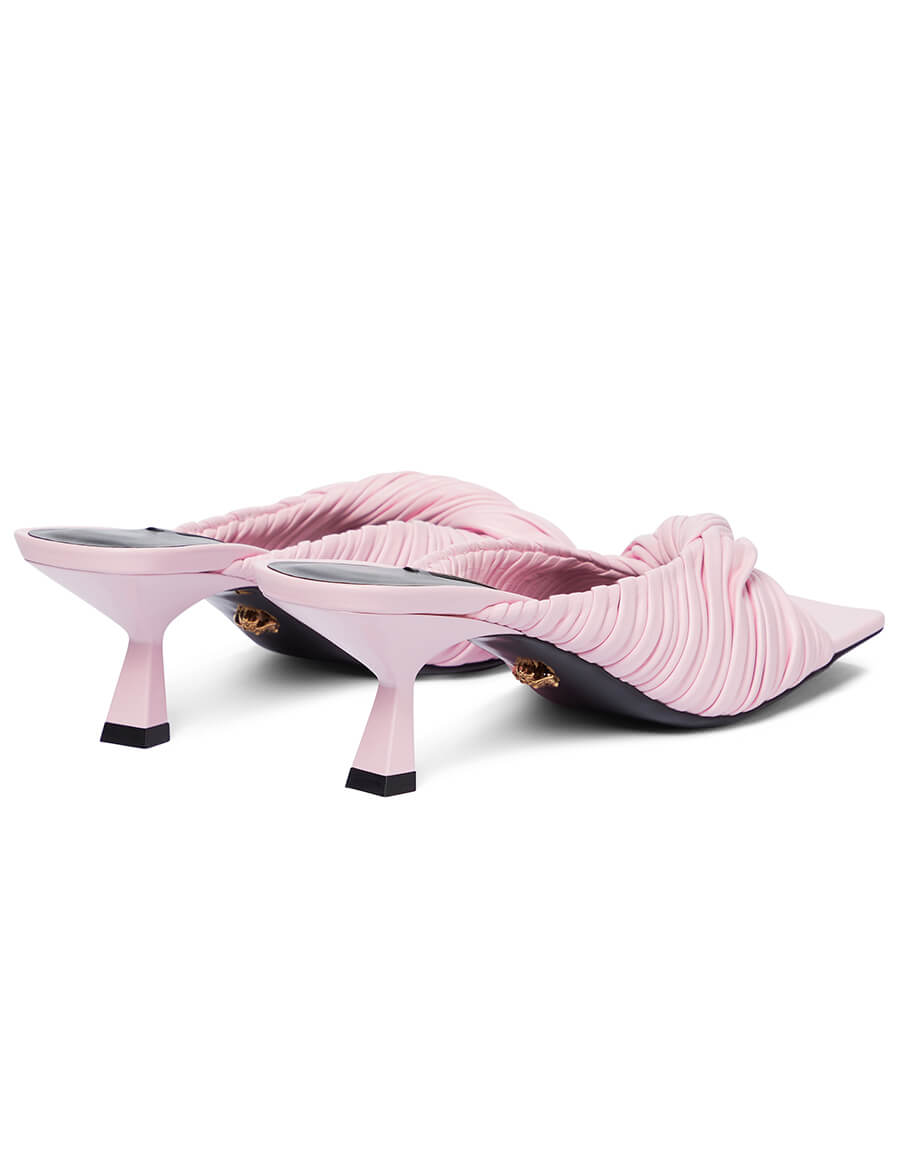 VERSACE Plissé nappa leather sandals