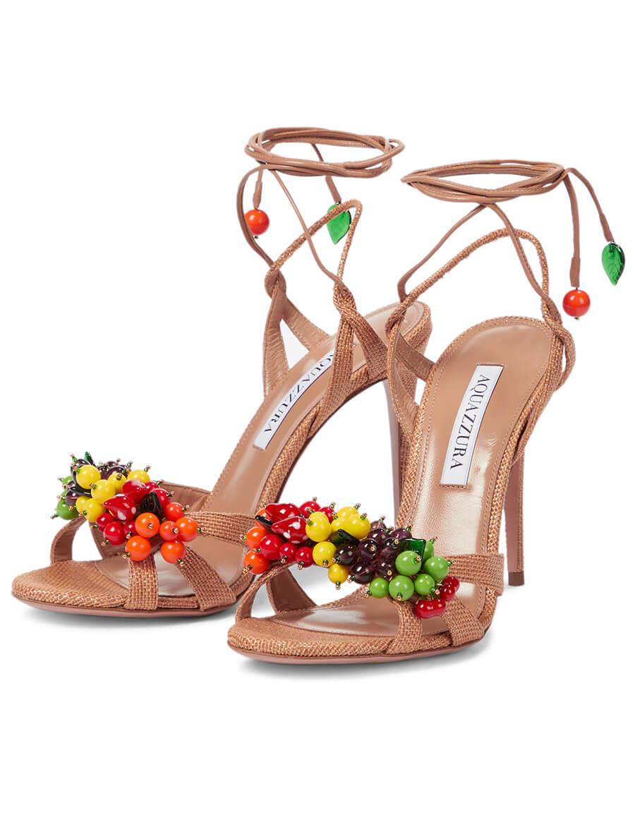 AQUAZZURA Tutti Frutti 105 leather and raffia sandals