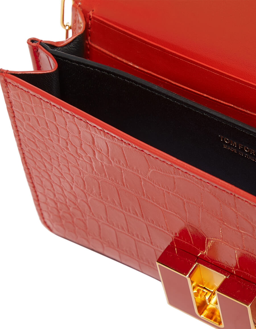 TOM FORD 001 Small croc effect leather clutch