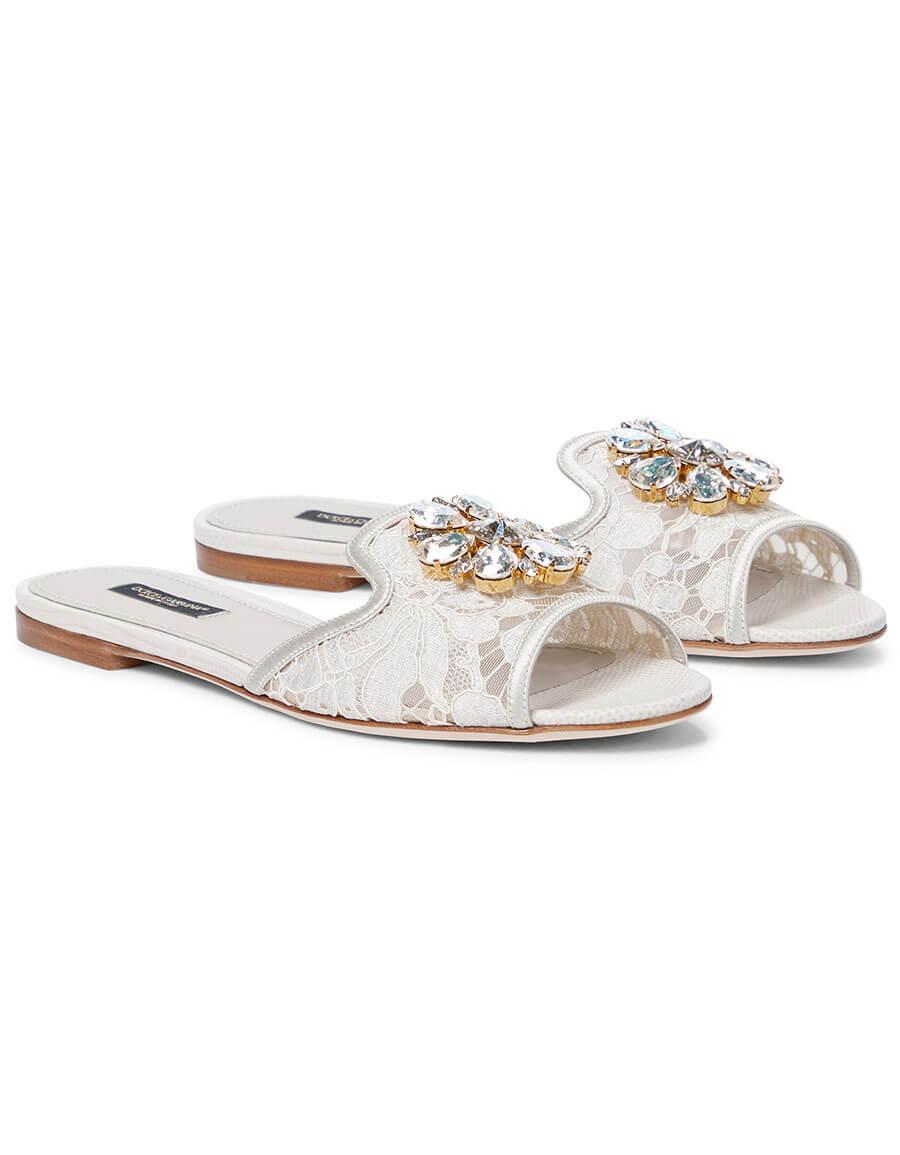DOLCE & GABBANA Bianca embellished lace sandals