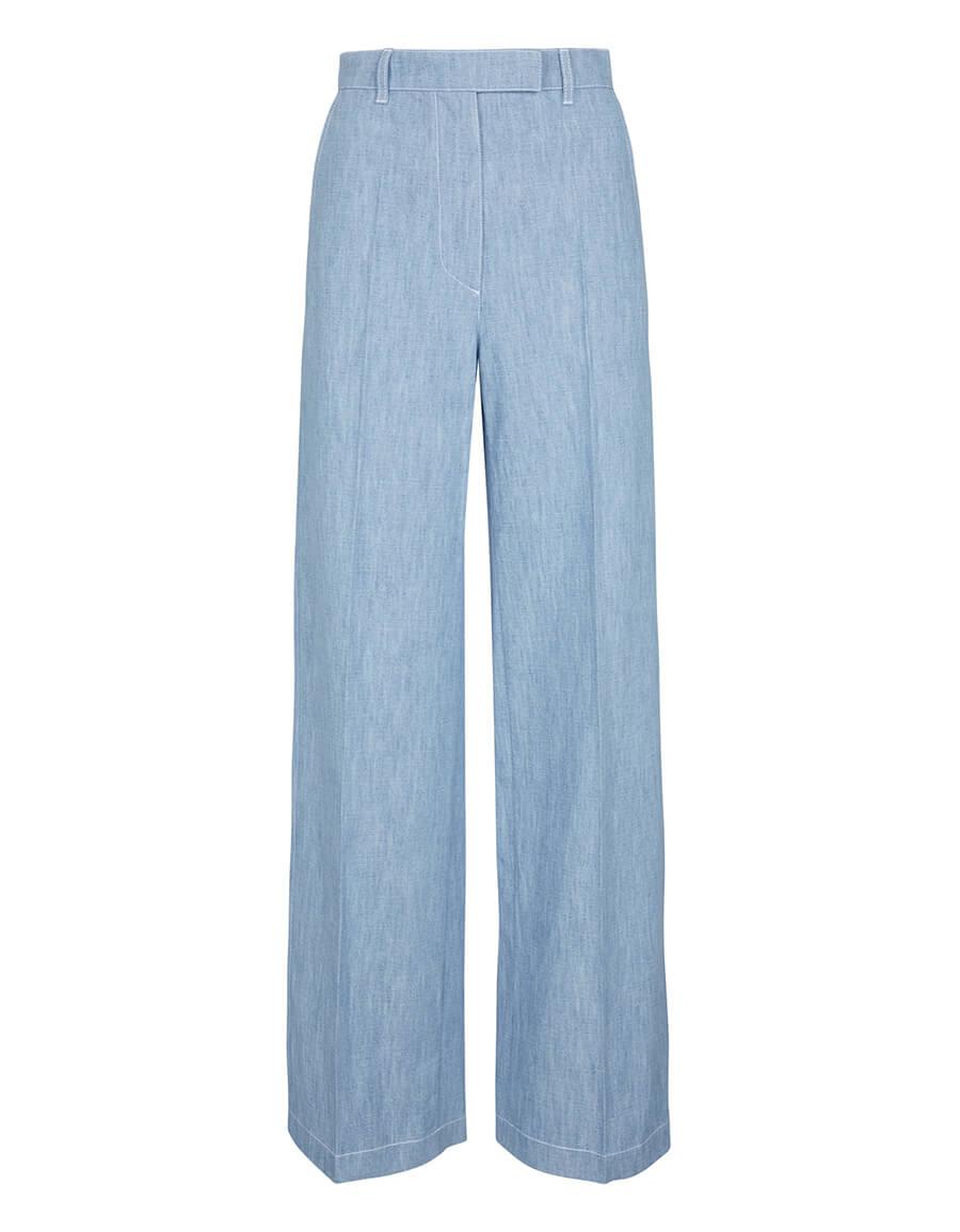 FENDI Wide leg cotton chambray pants