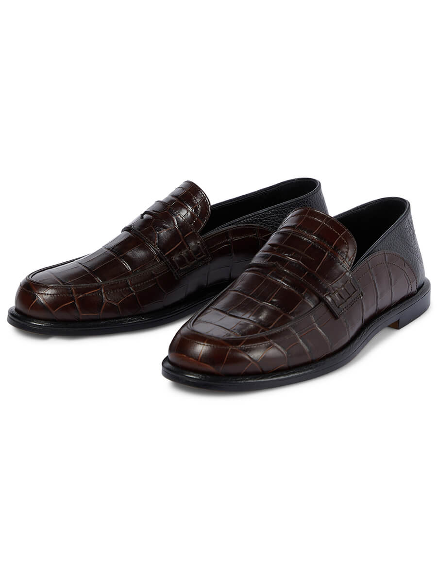 LOEWE Croc effect leather loafers
