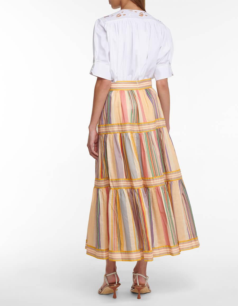 ZIMMERMANN Mae striped cotton midi skirt