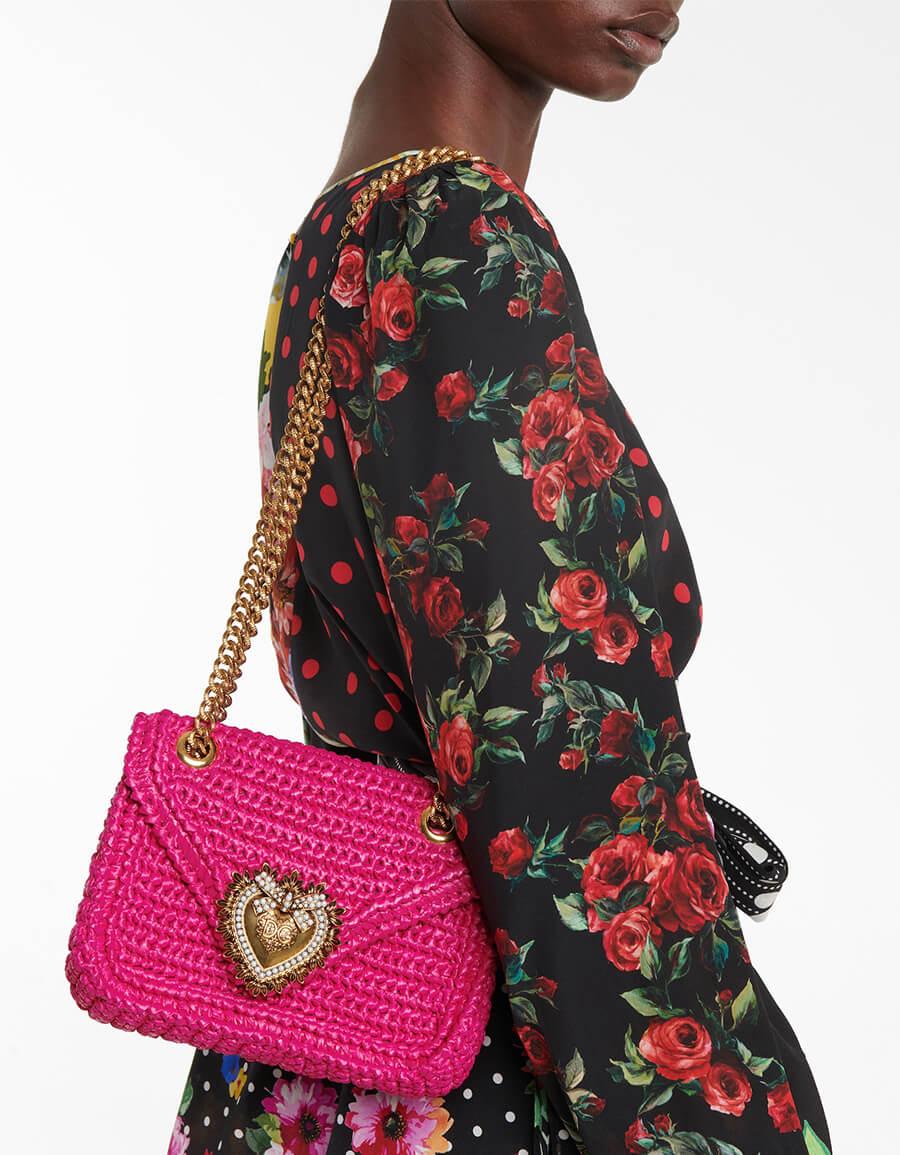 DOLCE & GABBANA Devotion Medium raffia shoulder bag