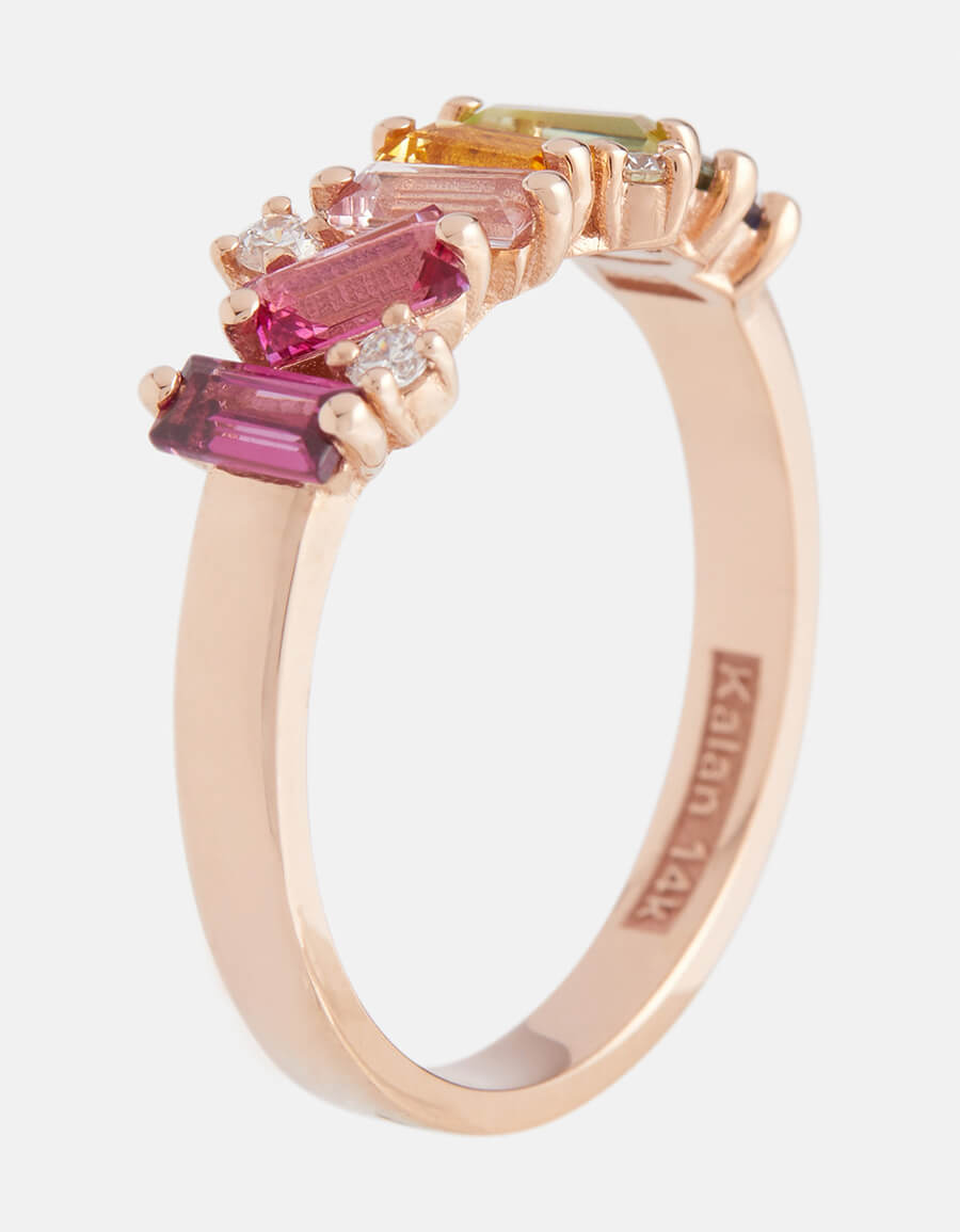 SUZANNE KALAN Rainbow 14kt rose gold ring with diamonds and sapphires