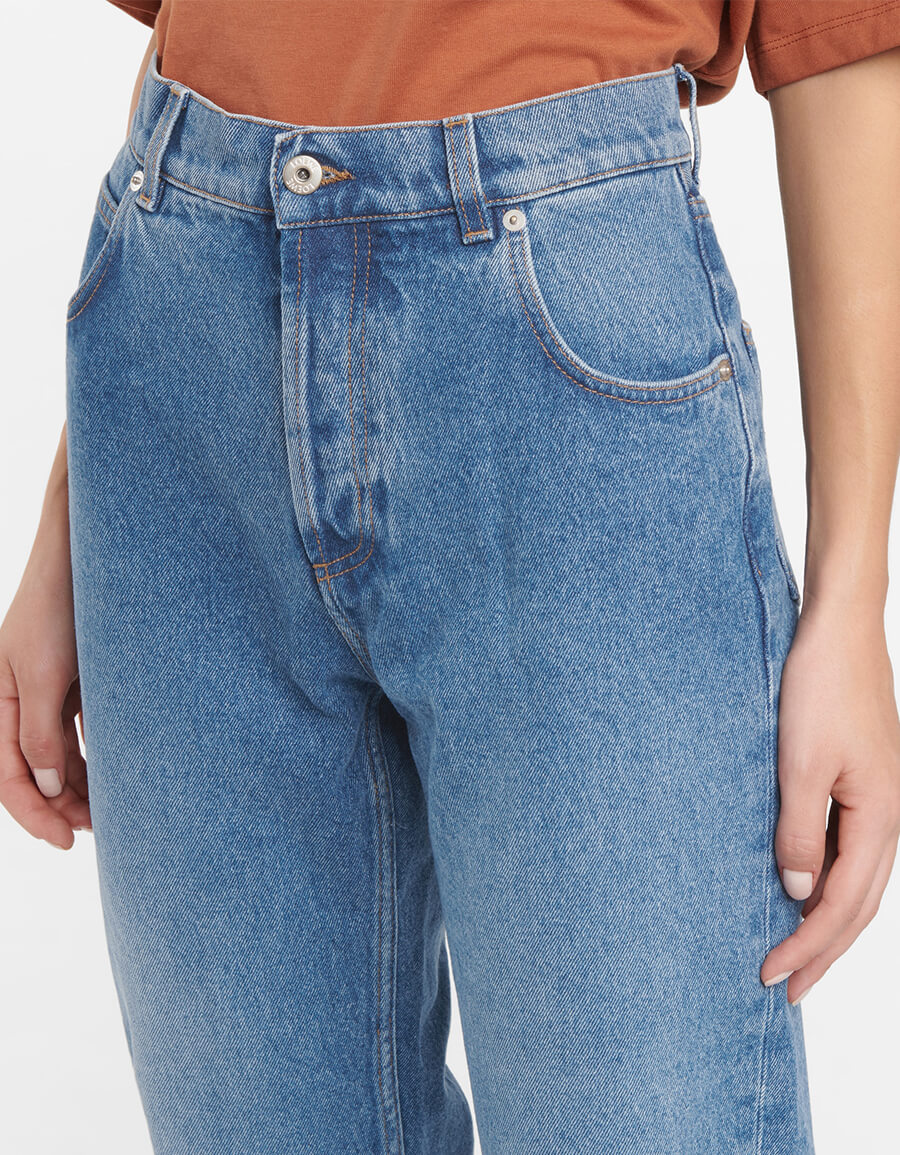 LOEWE Anagram leather trimmed tapered jeans