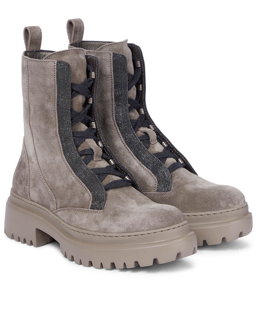 BRUNELLO CUCINELLI Embellished suede combat boots