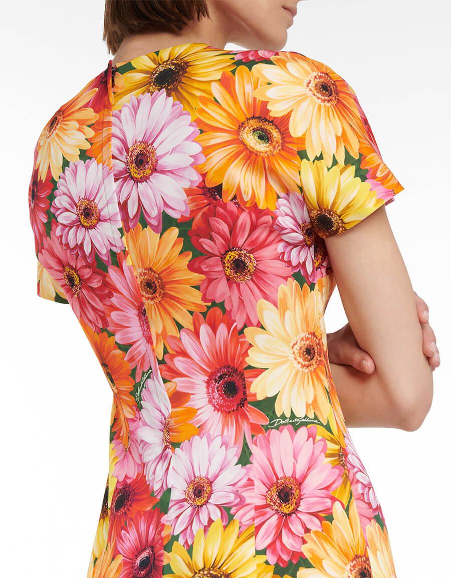DOLCE & GABBANA Floral stretch silk midi dress