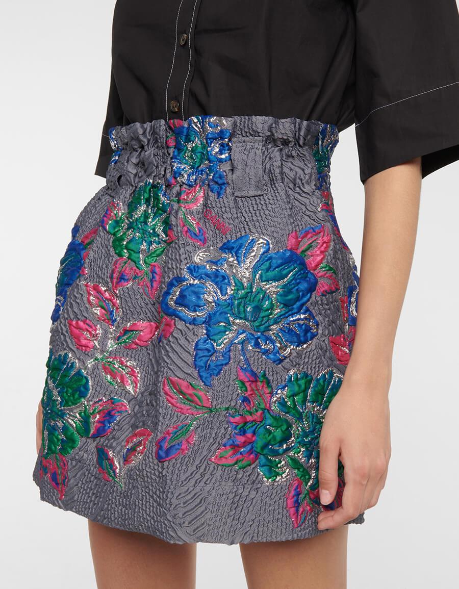 GANNI High rise jacquard miniskirt