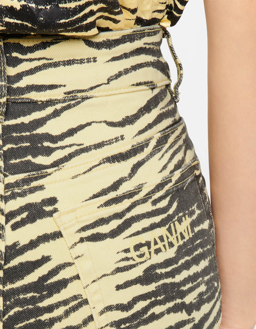 GANNI Tiger print stretch cotton flared jeans