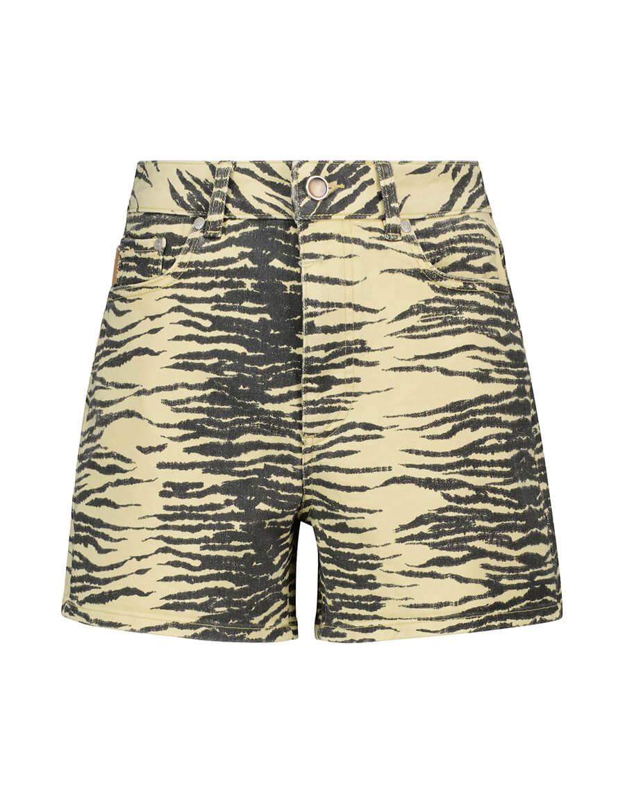 GANNI Tiger print denim shorts
