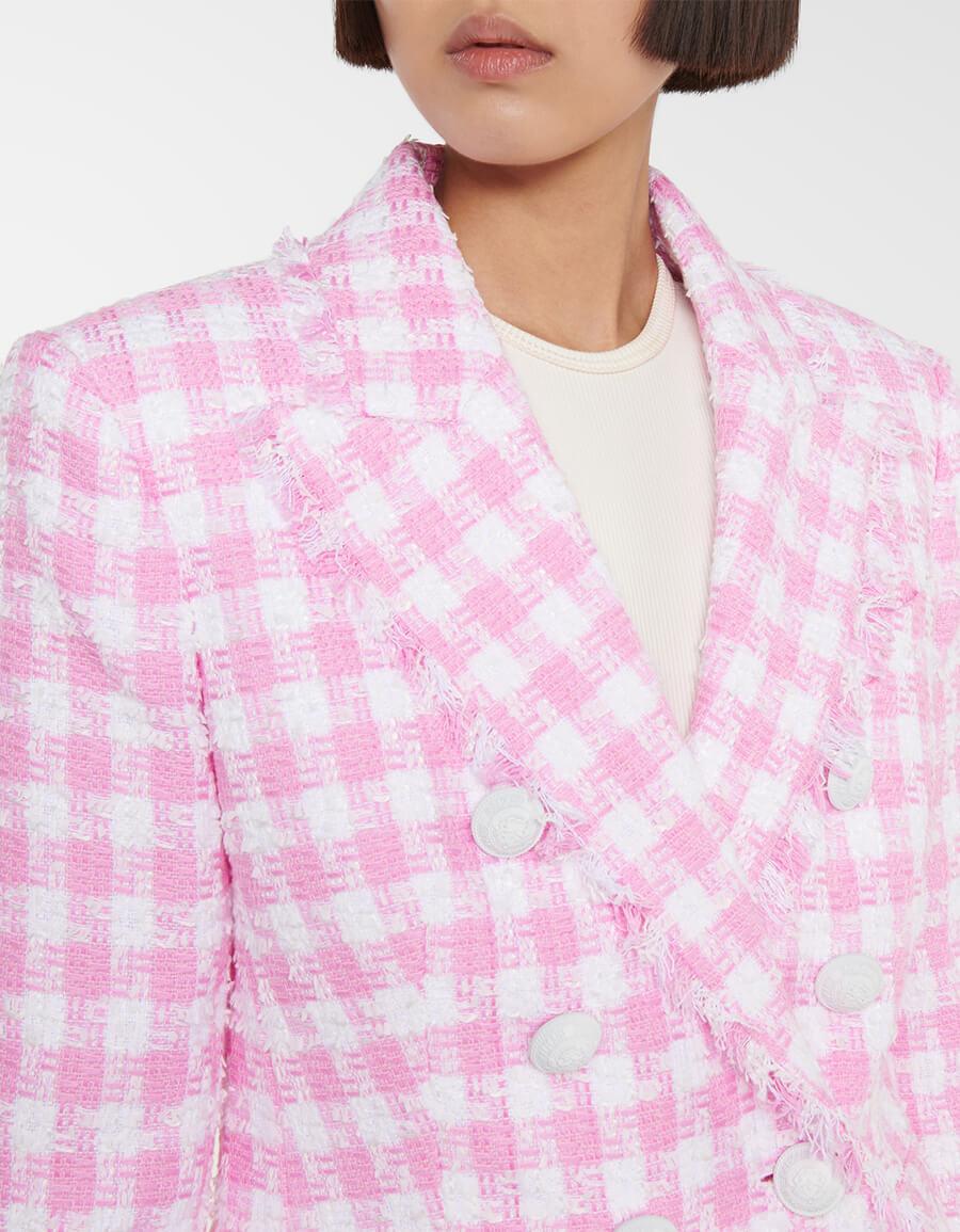 BALMAIN Checked cotton blend tweed blazer