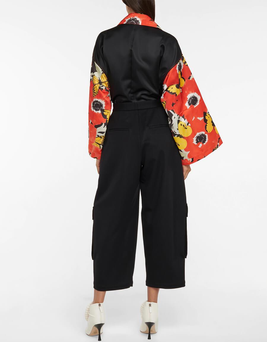 LOEWE High rise cropped wool cargo pants