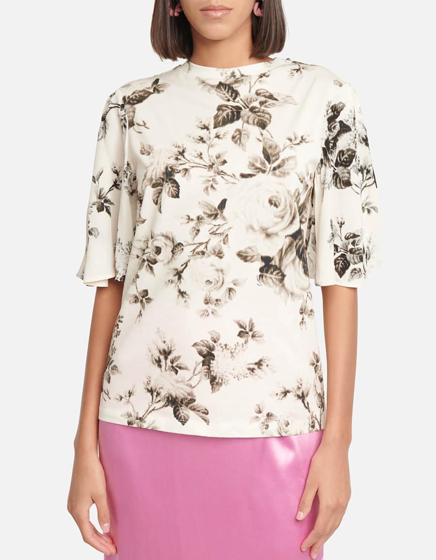 ERDEM Jane floral cotton T shirt