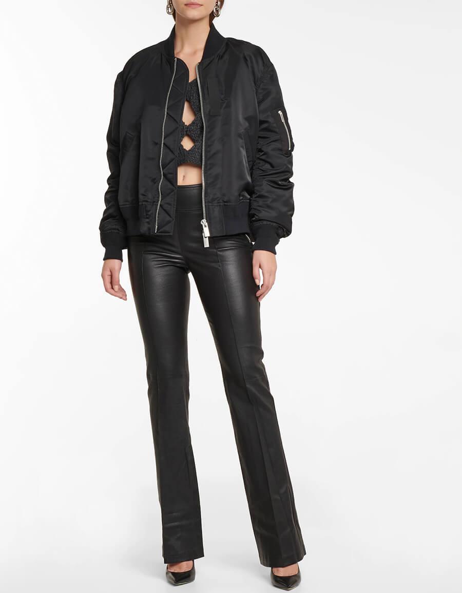 HELMUT LANG Leather bootcut pants