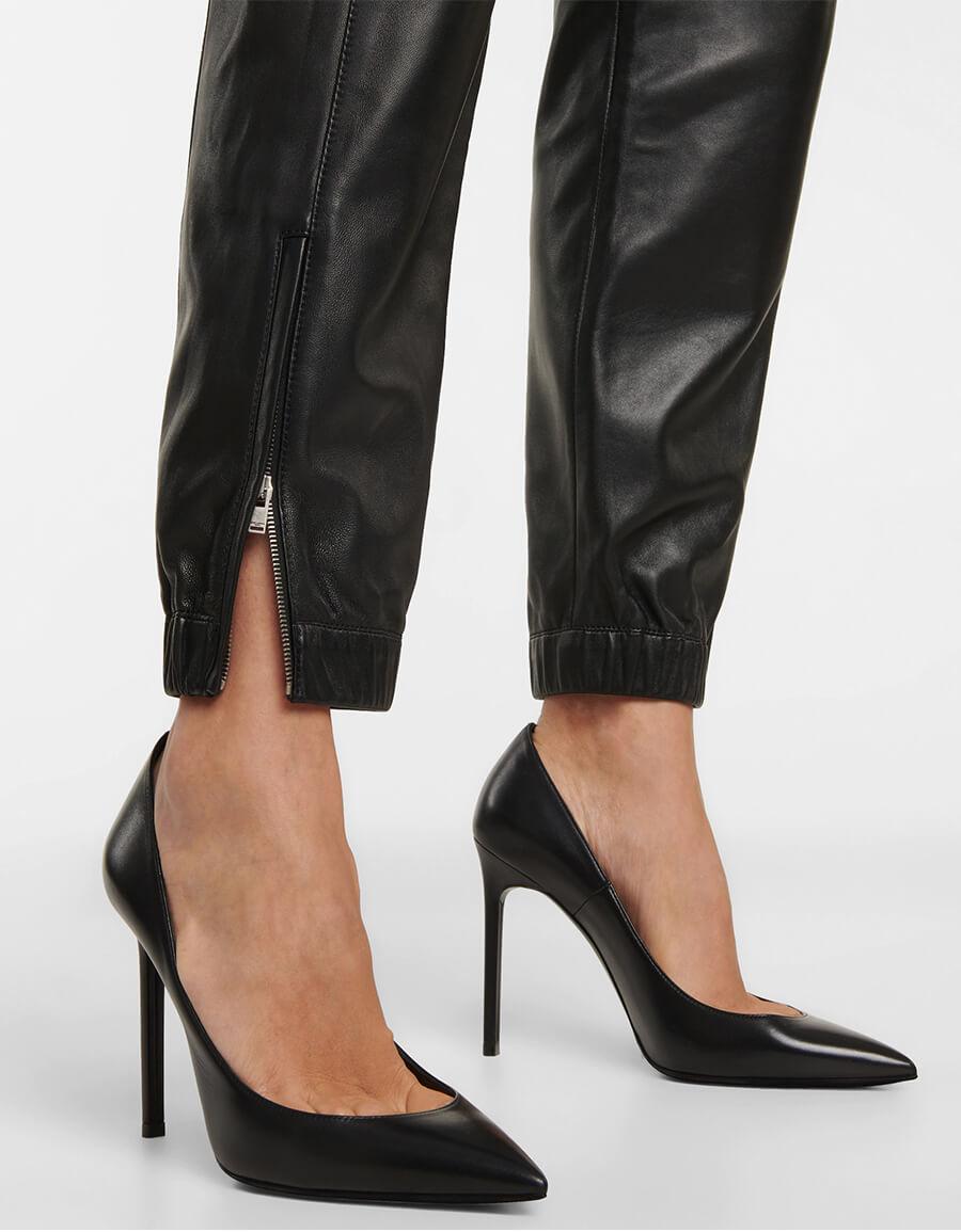 SAINT LAURENT Zip cuff leather sweatpants