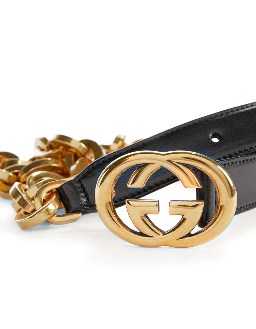 GUCCI GG chain and leather belt