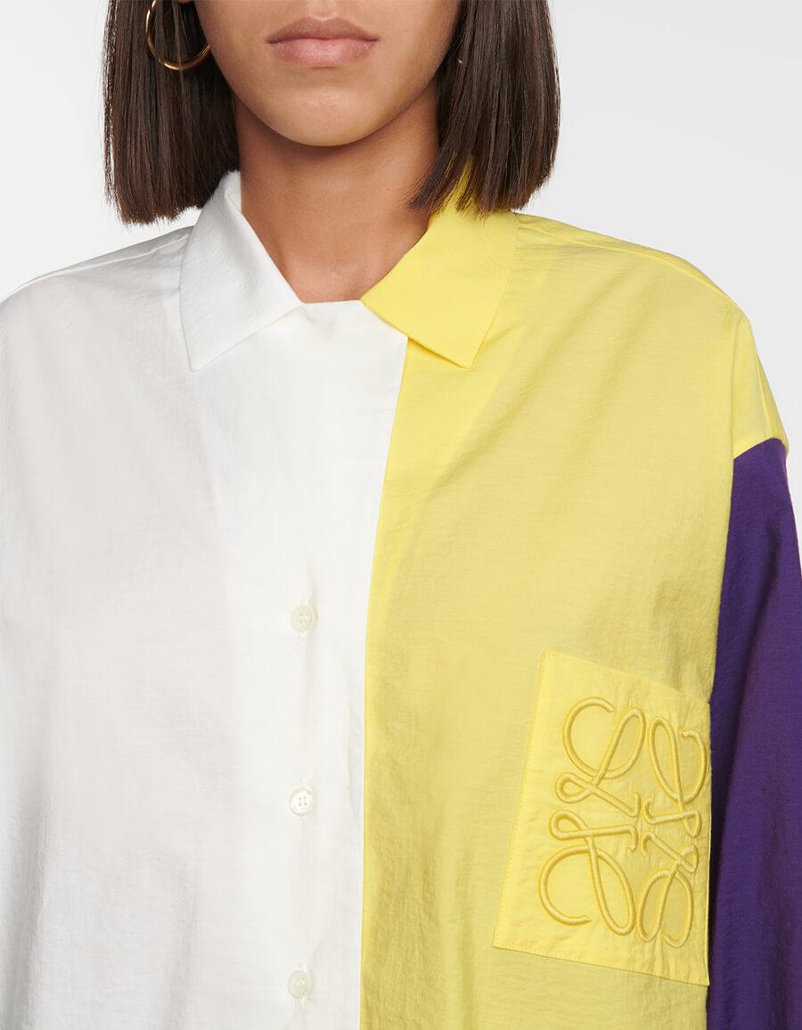 LOEWE Colorblocked cotton blend shirt