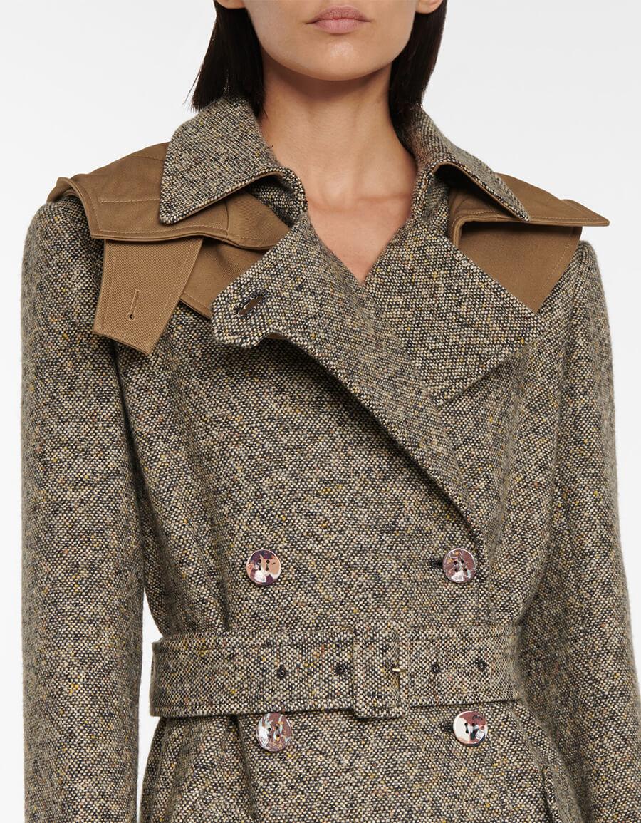 CHLOÉ Belted wool and silk tweed coat