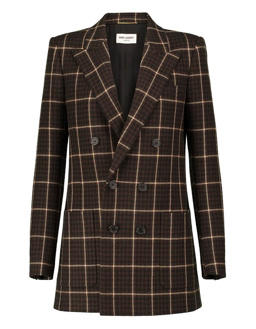 SAINT LAURENT Houndstooth checked wool blazer