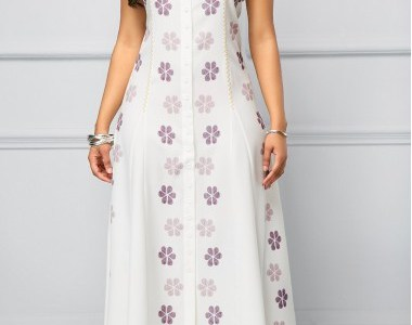 Button Front Sleeveless Printed Tie Back Maxi Dress - $38.92