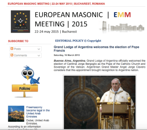 Freemasonry welcomes Pope Francis