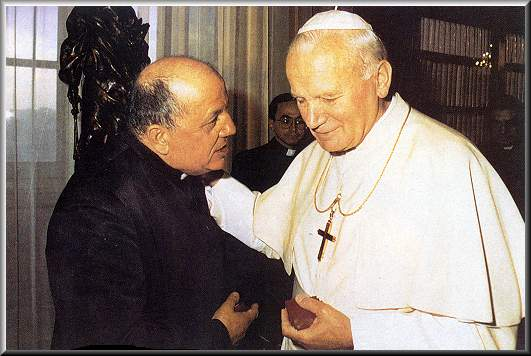 Fr. Stefano Gobbi (left), with St. Pope John Paul II.